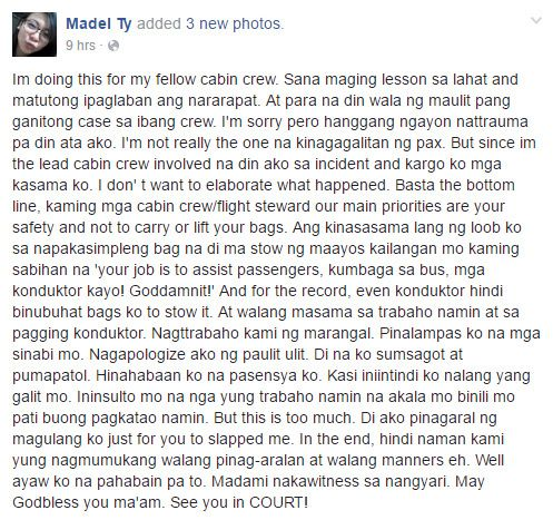 Statement of Madel Ty posted on her Facebook account