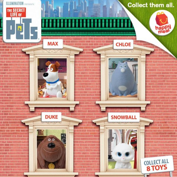 The Secret Life of Pets toys are now available with every Happy Meal for your kid! Collect all 8!