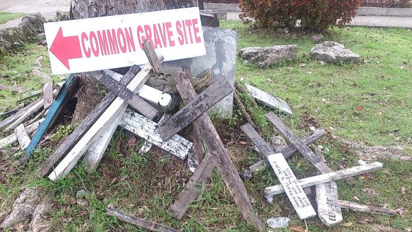 Crosses for young ones laid to rest at the church grounds