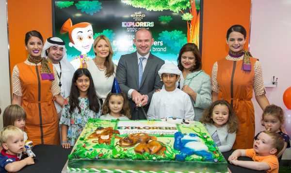(From left to right) Turky Alhammadi, Etihad Airways Manager Product – Guest Experience, Linda Celestino, Etihad Airways Vice President Guest Services, Calum Laming, Etihad Airways Vice President Guest Experience, and Sajida Ismail, Vice President Service and Hospitality, cutting the cake in celebration of the launch of the new Etihad Explorers children's activity kits and the new Flying Nanny kit.