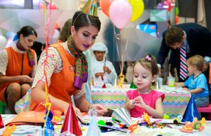 Children enjoying the activities at the Etihad Explorers tea party and children's activity kit launch event, held at Etihad Airways' Innovation Training Academy in Abu Dhabi.