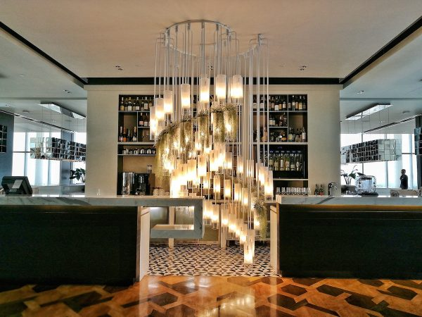 floor-to ceiling Chandelier at Flame Restaurant