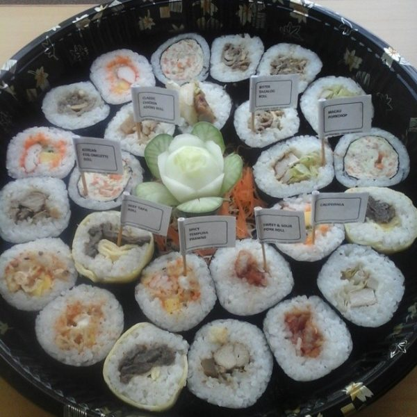 A medium platter of yummy gourmet rolls