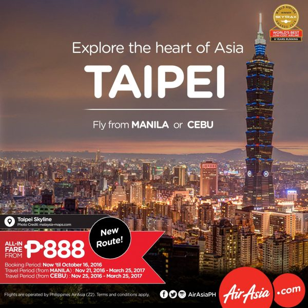 Direct Flights to Taipei from Manila and Cebu
