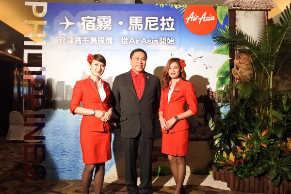 Captain Comendador with AirAsia Flight Attendants
