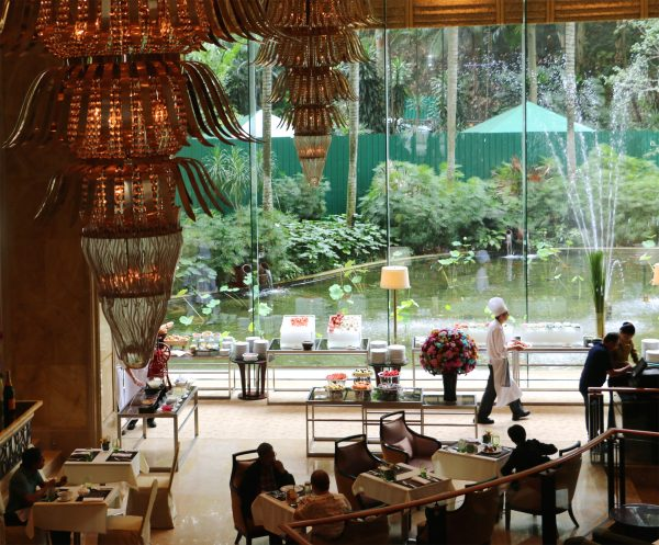 Chill out at the High Tea Buffet in the Lobby Lounge every Saturday, against a beautiful green backdrop