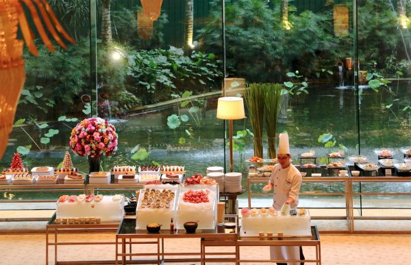 Indulge in the Saturday Seafood Buffet Dinner at the Lobby Lounge with a view of the garden