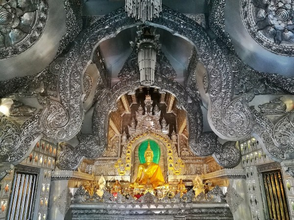 Silver and Gold inside Wat Sri Suphan in Chiang Mai