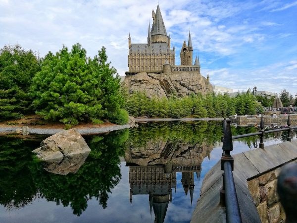 View of Hogwarts Castle from Three Broomsticks Restaurant