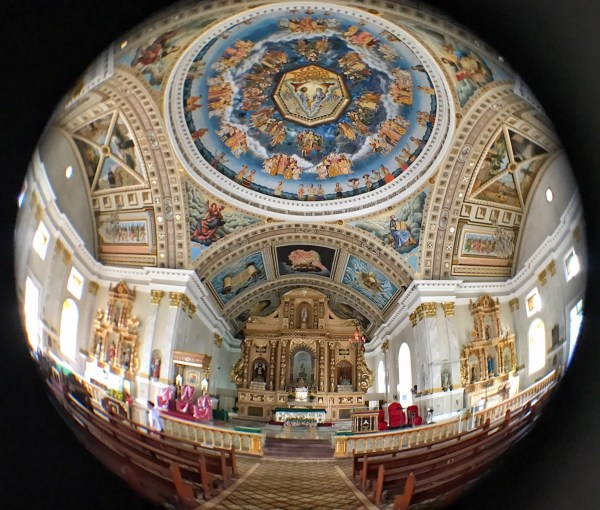 Church in Bohol photo taken using fisheye lens