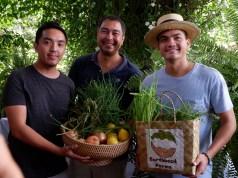 L-R. Farm owners Raphael Teraoka of Teraoka Farms, Nicolo Aberasturi of Earthflora, Inc., and Enzo Pinga of Earthbeat Farms