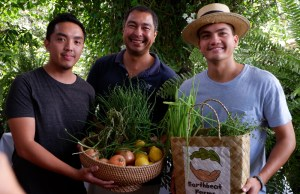 L-R. Farm owners Raphael Teraoka of Teraoka Farms, Nicolo Aberasturi of Earthflora, Inc., and Enzo Pinga of Earthbeat Farms