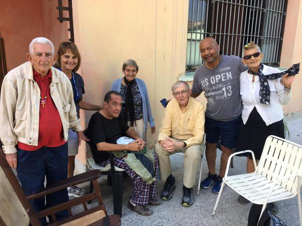 Visiting and meeting with seniors at a seniors center in Havana