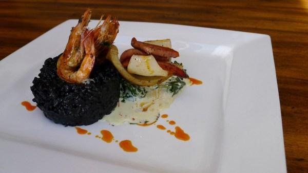 Chorizo Risotto Nero (Chorizo, Prawns, Squid, Cuttlefish Ink Risotto & Creamed Spinach)