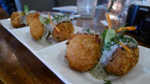 Crab & Artichoke Arancini (Fried Risotto Balls stuffed with Citruc Carb Filing)