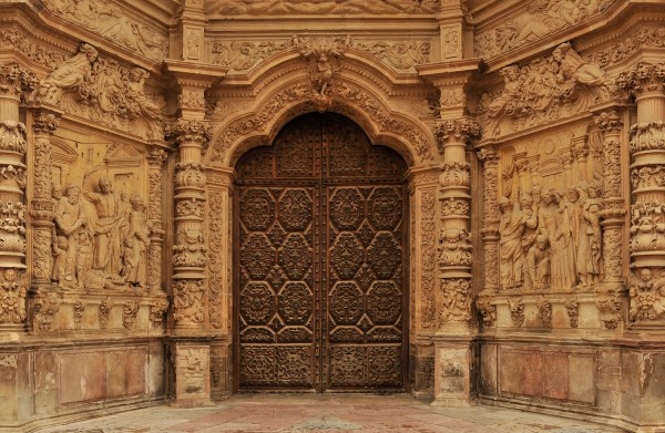 Beautifully detailed entrance door to the cathedral.