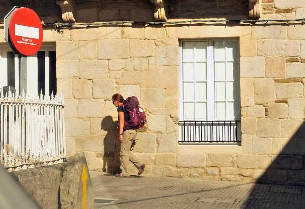 Fellow pilgrim outside the albergue in Pedrafita.