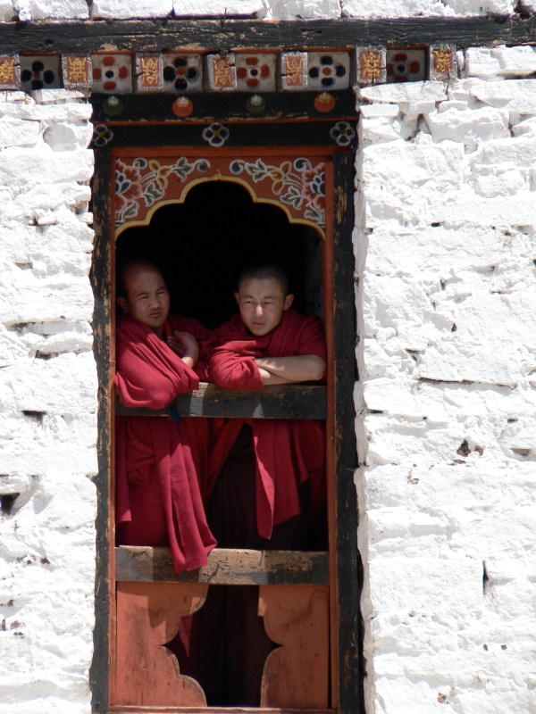 Monks in the dzong of Paro