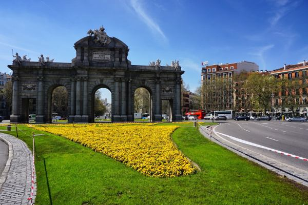 The Puerta de Alcala is a Neo-classical monument in the Plaza de la Independencia in Madrid