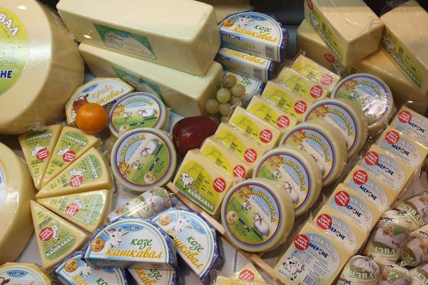 Vacuum packed Kashkaval cheese in Bulgarian store