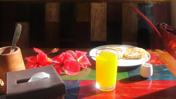 Pancake for a floral and sun-streaked breakfast
