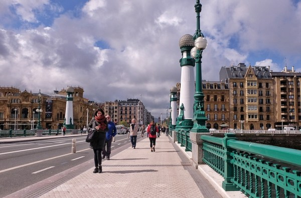 Zurriola Bridge in San Sebastian