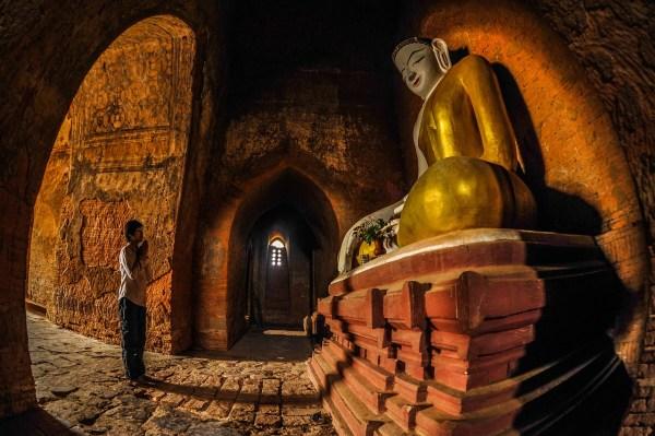 Inside a temple in Myanmar