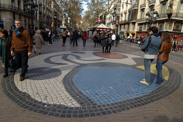 "The mosaic ""Pla de l'Os"" by the artist on the Ramblas of Barcelona"