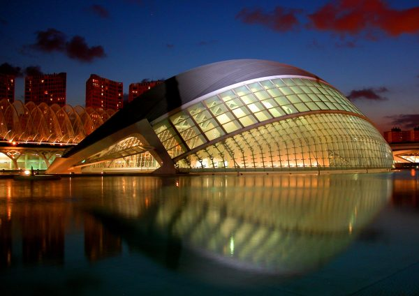 The Eye in the City of Arts and Sciences in Valencia contains the IMAX theater reflected on the pool.