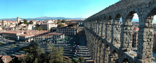 The stone aqueduct in Segovia is a testament to the quality of Roman engineering.