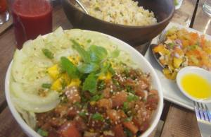 A hearty meal of Tuna Bowl with Salted Red Egg Salad, Vegetable Fried Rice and beet Super Juice