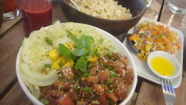 A hearty meal of Tuna Bowl with Salted Red Egg Salad, Vegetable Fried Rice and beet Super Juice - Hoy! Panga Boracay