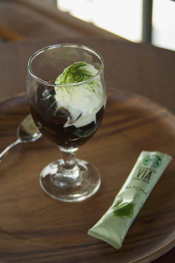 Coffee Jelly with Vanilla Ice Cream and VIA Matcha
