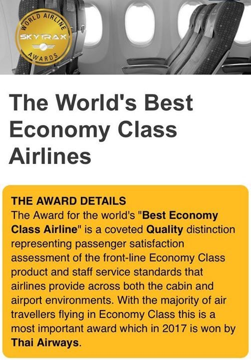 THAI is 2017 World's Best Economy Class Airlines