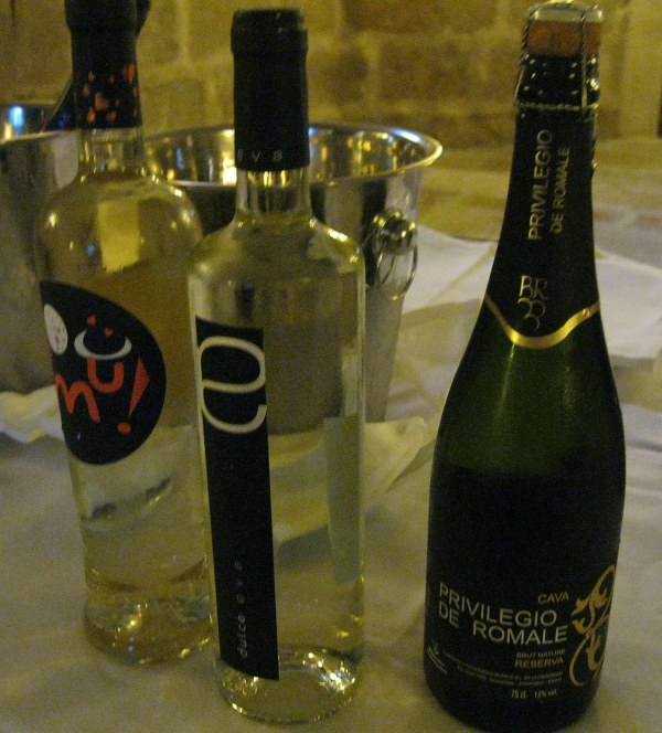 Two white wines and a cava