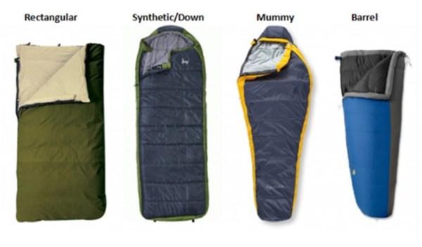 Various Shapes of Sleeping Bags