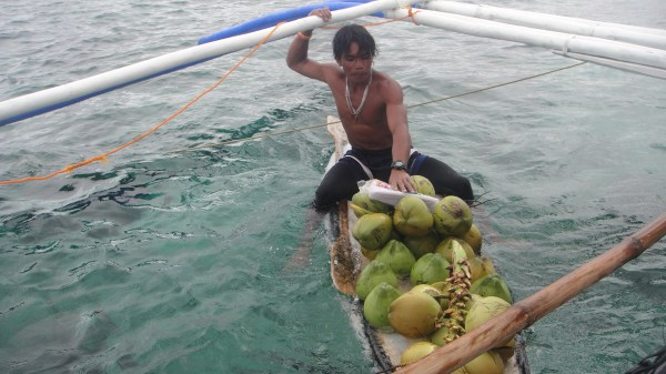Coconut vendor nearby Crocodile Island