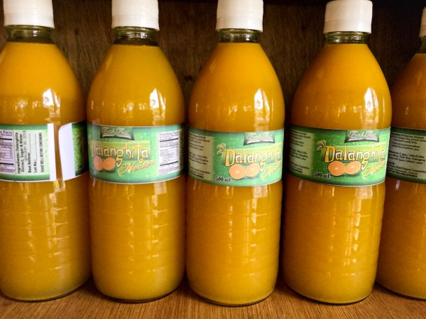 Dalanghgita juiced and bottled with a shelf-life of six months from Tagkawayan