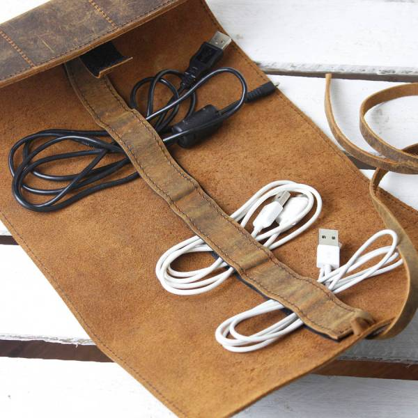 Personalised Leather Cord Organiser by SCARAMANGA