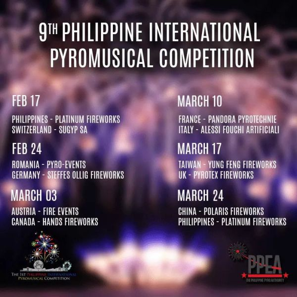 Philippine International Pyromusical Competition 2018 Schedule of Activities