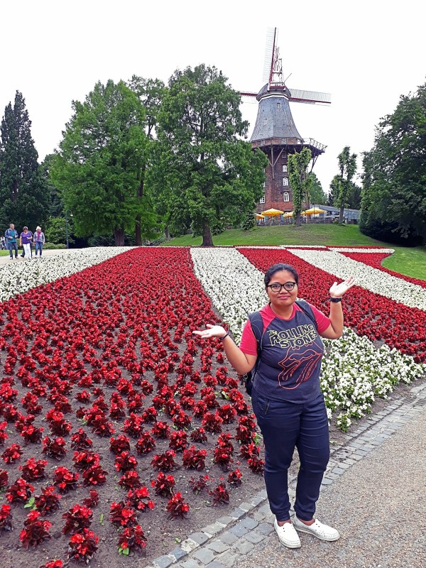 flowers and me and windmill