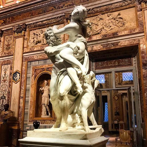 A statue inside Borghese gallery