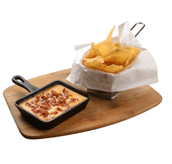 Chorizo Con Quezo Fondido - A sumptuous blend of cheddar and mozzarella cheeses melted together in a skillet then topped with meaty chorizo bits, served alongside crisp nacho chips