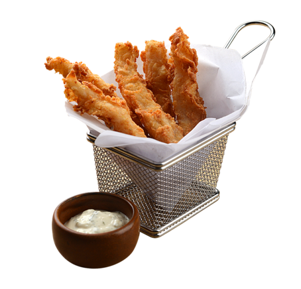 Fish Sticks - Crunchy, lightly breaded fish fillet pieces balanced out by our Tartar sauce