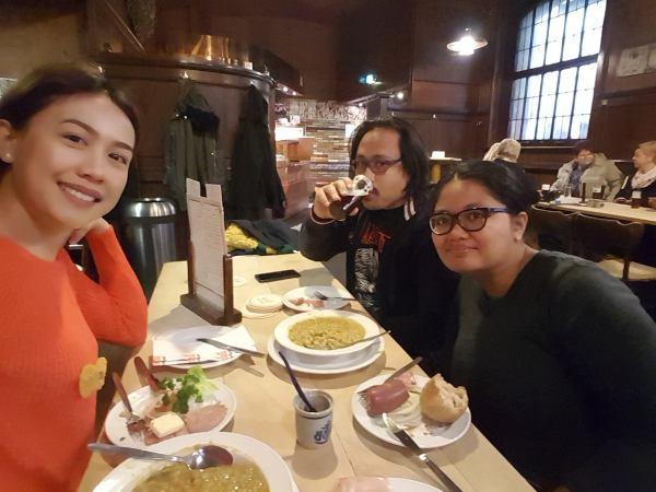 We were enjoying the food.