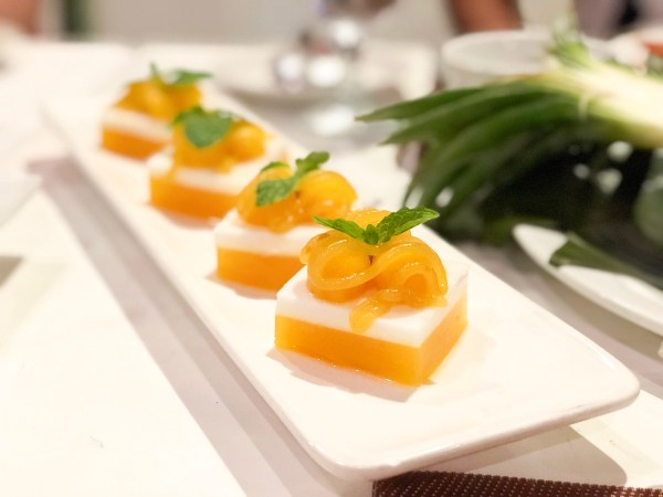 Coconut Jelly with Mango for Dessert