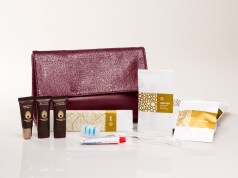 Etihad Airways Christian Lacroix female amenity bag and contents