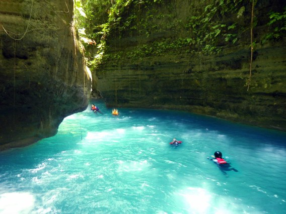 Other than bamboo rafting, you can also enjoy canyoneering and swimming. [Image Credit: Wikimedia Commons]