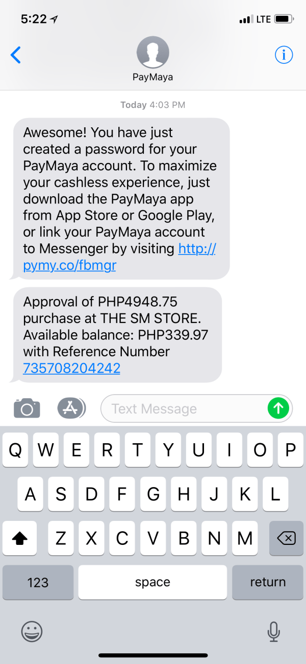 SMS Confirmation about completed PayMaya Scan to Pay transaction