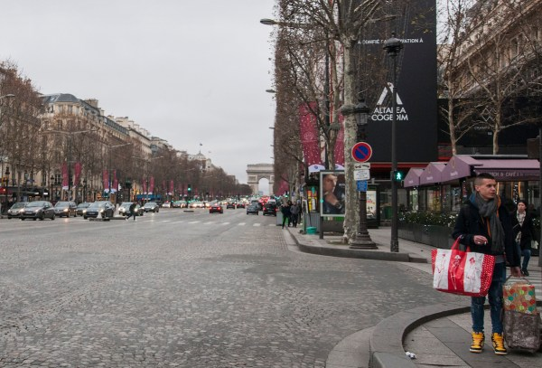 The Arc de Triomphe at the end of Champs Elysees.